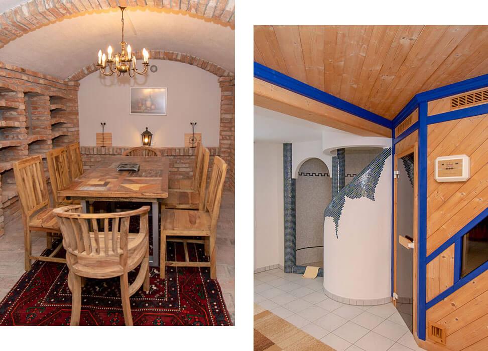 Villa Salza - Untergeschoß mit Weinkeller uns Saunabereich