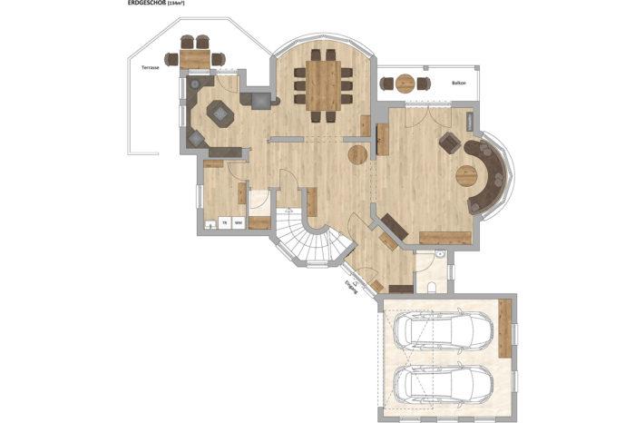 Villa Salza Aufteilung Erdgeschoß